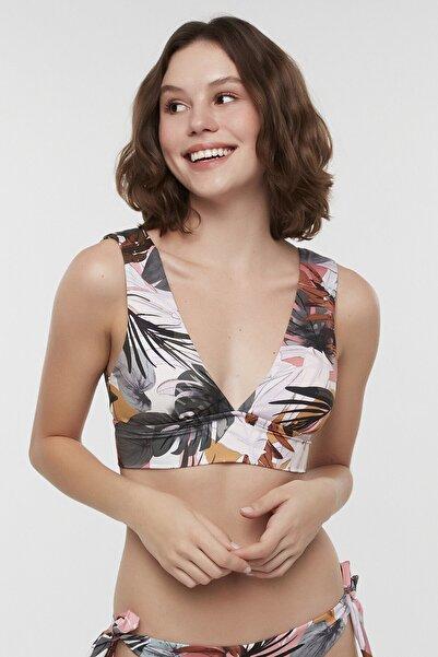 Kadın Çok Renkli Tropic Deep V Bikini Üstü