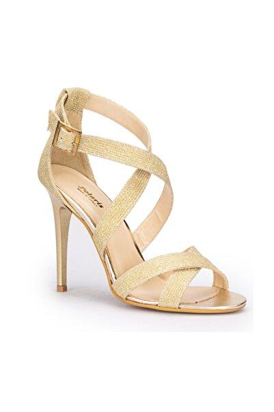 Polaris Altın Renk Ince Yüksek Topuklu Tokalı Ayakkabı