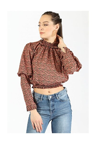 Twister Jeans Kadın Bel Büzgülü Bluz 19723 Kırmızı