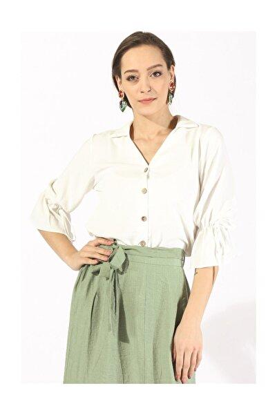 Twister Jeans Kadın Kol Bağlamalı Bluz 19731 Beyaz