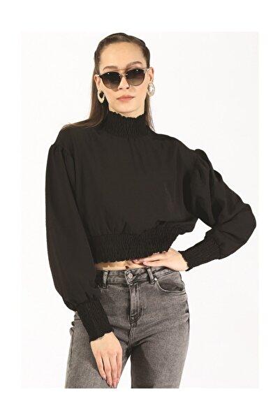 Twister Jeans Bbl Büzgülü Crop Bluz 6002 Sıyah