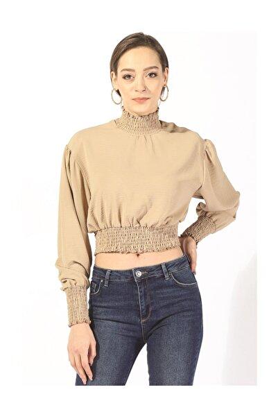 Twister Jeans Kadın Bbl Büzgülü Crop Bluz 6002 Vizon