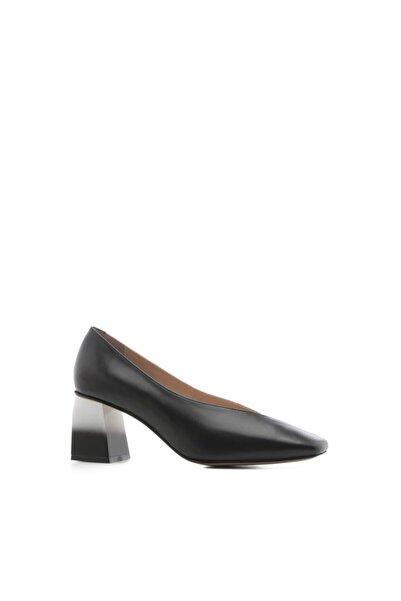 İLVİ Loca Bayan Topuklu Ayakkabı Siyah-beyaz Deri