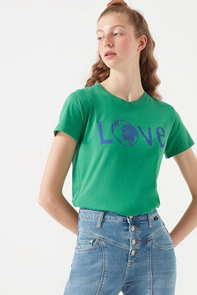 Kadın Love Baskılı Yeşil T-Shirt 168602-31295