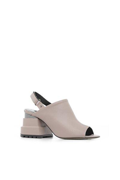 İLVİ Yana Kadın Sandalet Bej Deri