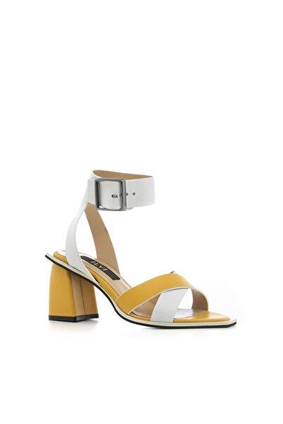 İLVİ Ddemo Sandalet Sarı Beyaz Deri