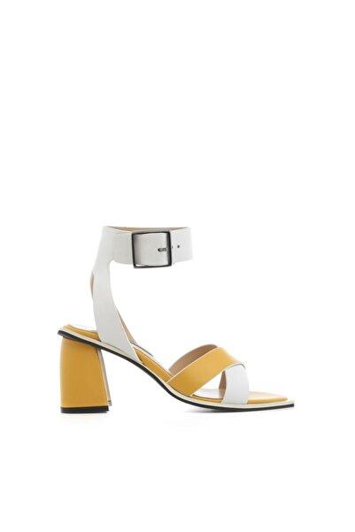 Ddemo Sandalet Sarı Beyaz Deri
