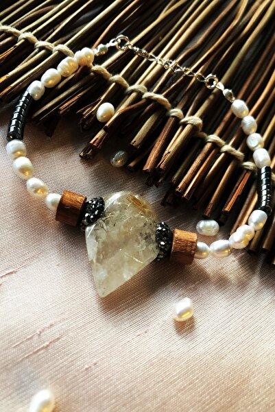 Dr. Stone Luxury Collection Gold Beril, Inci Ve Hematit Taşı 925 Ayar Gümüş Kadın El Yapımı Bileklik Lxdr79