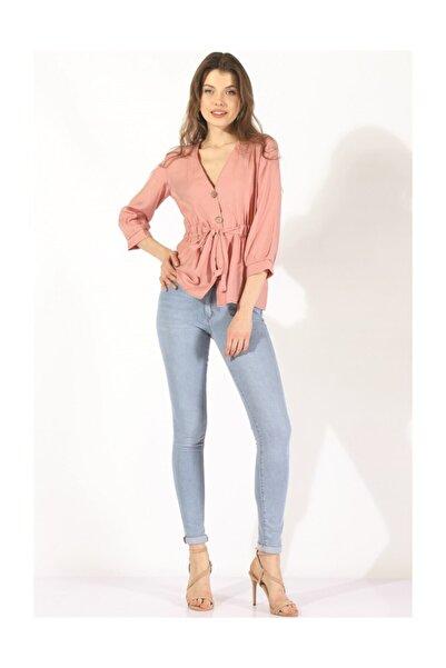 Twister Jeans Kadın Düğmeli Belden Bağlama Bluz 19078 Pudra