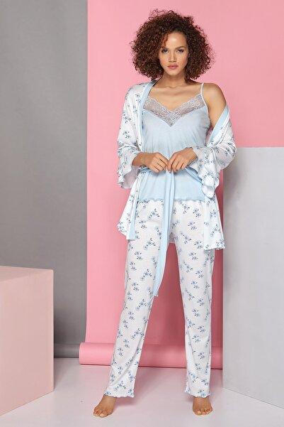 Sevim Kadın Mavi Çizgili 3 Lü Pijama Takım