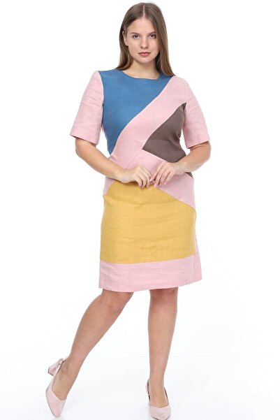 Moday Pembe Keten Elbise 21d-0872