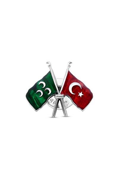 Silverplus Erkek Mineli Osmanlı ve Türk Bayraklı Gümüş Rozet Kg4516