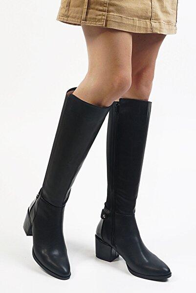 Siyah Kadın Aret Topuklu Çizme 19K0029Sm4604