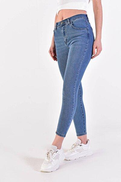 Kadın Kot Rengi Cep Detaylı Jean Pantolon ADX-0000022139