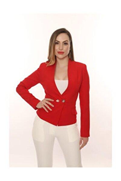 Kadın Çift Düğmeli Klasik Ceket Ofis Ve Günlük Şık.