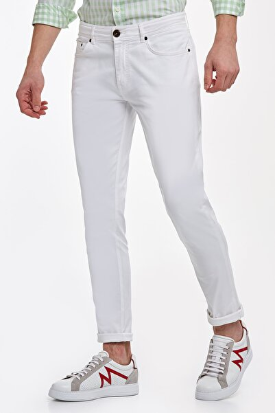Hemington Erkek Beyaz Klasik Chino Pantolon