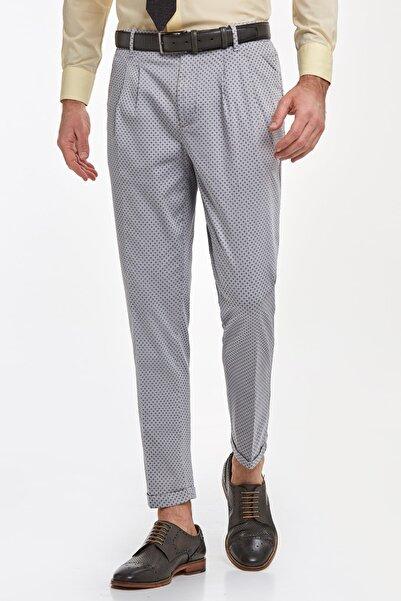 Hemington Erkek Gri Desenli Pamuk Chino Pantolon