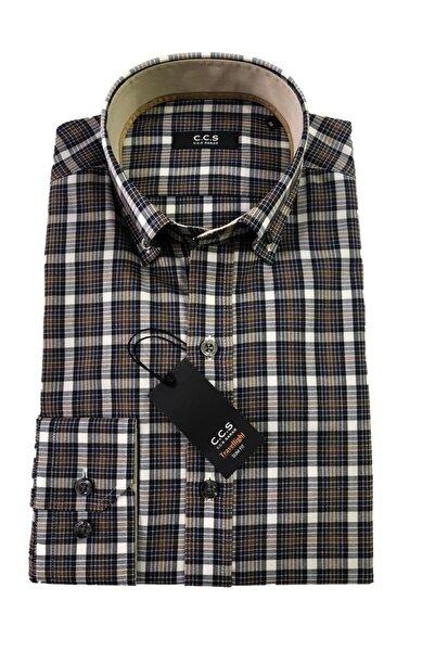 CCS Sarar C.c.s Sarar Uzun Kol Slim Fit Yakası Düğmeli Erkek Gömlek