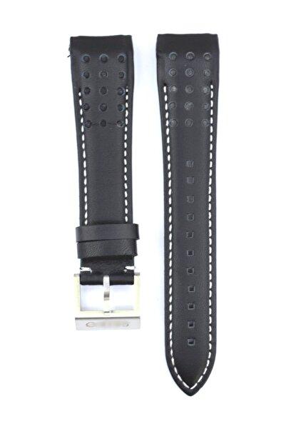 Seiko SNAE77P1 Beyaz Dikiş 21mm Siyah Deri Saat Kordonu SKO110
