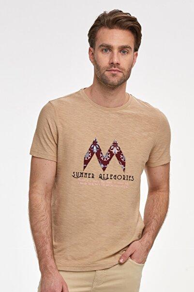 Hemington Bisiklet Yaka Nakışlı Camel Pamuk T-shirt