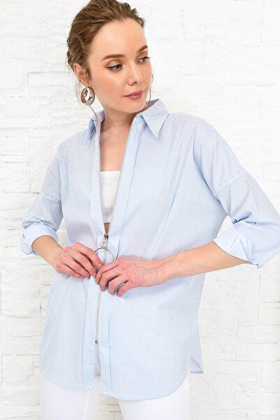 Kadın Mavi Çizgili Fermuarlı Dokuma Gömlek DNZ-3173