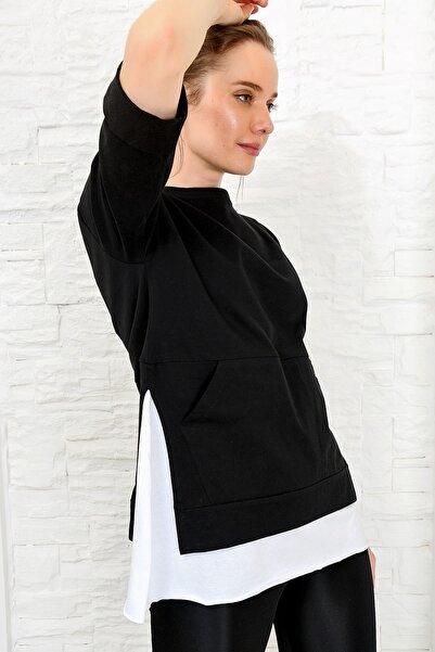 Kadın Siyah Kanguru Cepli Yanı Yırtmaçlı T-Shırt ALC-X4112