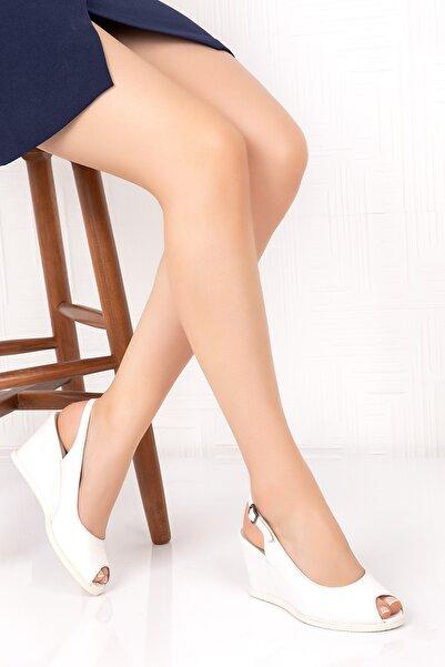 Gondol Hakiki Deri Dolgu Topuklu Ayakkabı