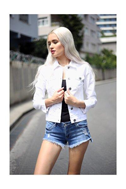 Yeni Stil Beyaz Bayan Kot Ceket