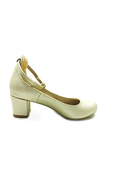 Almera Topuklu Bayan Ayakkabı - Altın-perde - 307