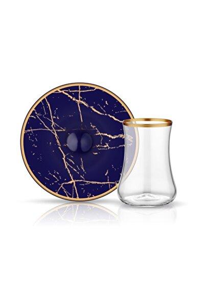 Koleksiyon1 6'lı Dervish Mermer Kobalt Mat Altın Çay Seti