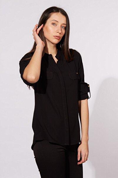 Kadın Siyah Katlama Kollu Çift Cepli Gömlek 485-20Y03013.91