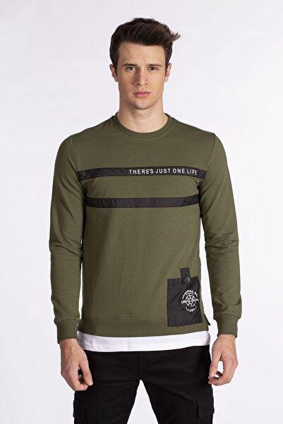 BARRELS AND OIL Erkek Haki Etek Ucu Cepli Sweatshirt 399-20M001.67