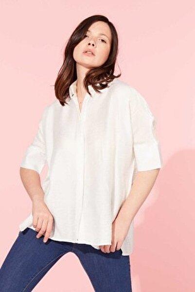 Kadın Beyaz Truvakar Kol Salaş Gömlek 412-20Y03004.55