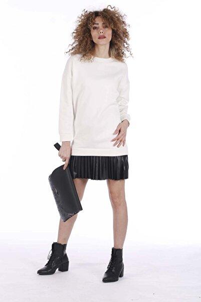 BARRELS AND OIL Kadın Ekru Eteği Derili Sweat Elbise 275-19K14002.63