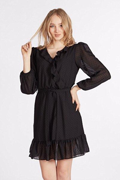 BARRELS AND OIL Kadın Siyah Ponponlu şifon elbise 512-20Y14007.91