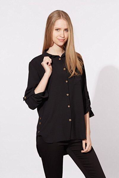 BARRELS AND OIL Kadın Siyah Tek Cepli Gömlek 91-20Y03003.91