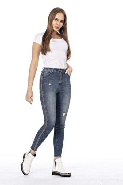 Kadın Mavi Yüksek Bel Yanı Sim Şeritli Pantolon 397-20Y04001.22
