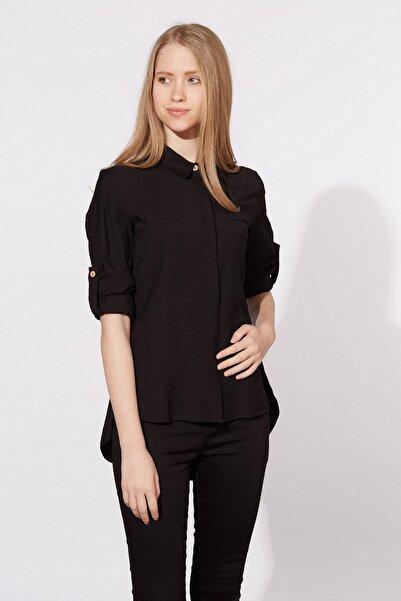 BARRELS AND OIL Kadın Siyah Arkası Uzun Gömlek 412-20Y03001.91