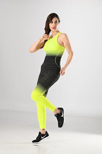 Miss Fit Renkli Desen Detaylı Kadın Sporcu Atlet Örme Seamless Dikişsiz Yoga & Fitness & Plates
