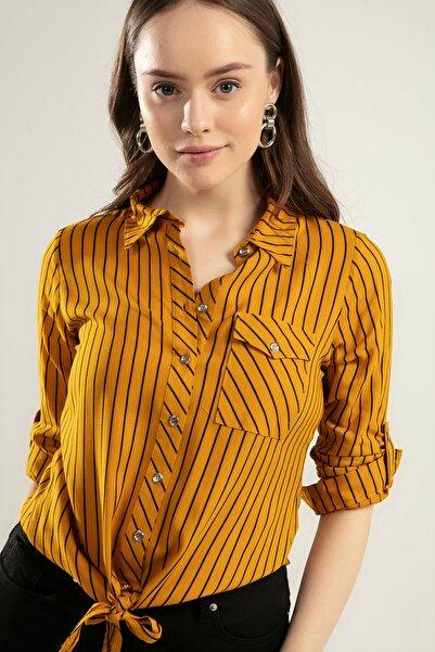 Y-London Kadın Hardal Katlanabilir Kol Cepli Çizgili Önden Bağlamalı Gömlek Y20S110-3617-1