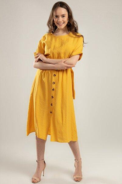 Y-London Kadın Hardal Duble Kol Beli Lastikli Süs Düğmeli Elbise Y20S110-1682-1
