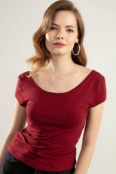 Y-London Kadın Bordo Geniş Yaka Kısa Kollu Tişört Y20S126-10534