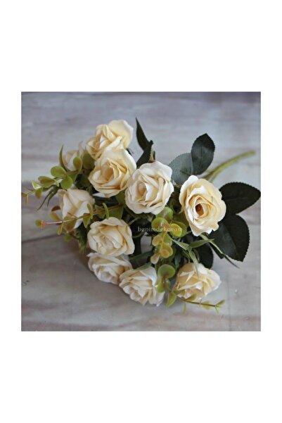 Nettenevime Yapay Çiçek Gül Yaban Gülü Demeti Krem 10 Kafa