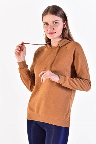Kadın Kahve Kapüşonlu Sweatshirt ADX-00011653