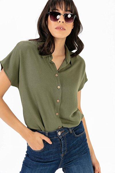 Kadın Haki Kısa Kol Viskon Gömlek