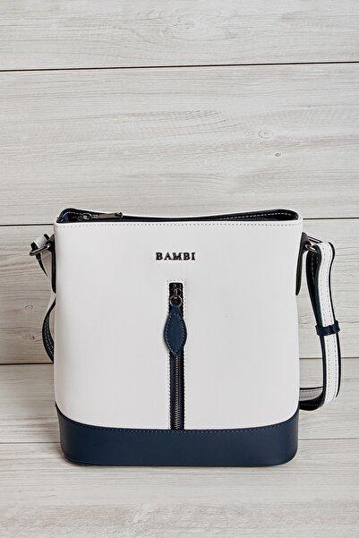 Bambi Beyaz Lacivert Kadın Omuz Çantası L36362246