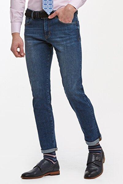 Hemington Lacivert Slim Fit Taşlanmış Denim Pantolon