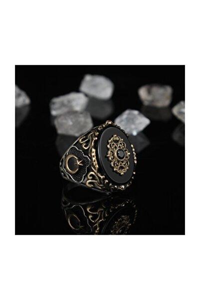 KsrModa Oniks Taşlı Ayyıldızlı 925 Ayar Gümüş Yüzük
