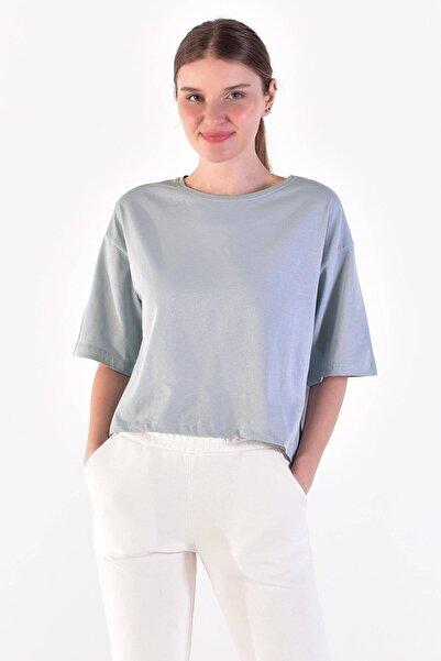 Addax Kadın Buz Mavi Basic Tişört P0315-1 - Y3 ADX-0000019653