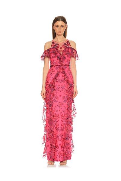 Marchesa Notte Kadın Pembe İşleme Detaylı Pembe Gece Elbisesi